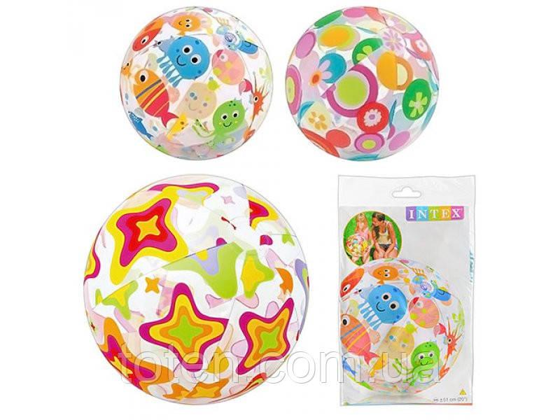 Надувний м'яч для пляжів і басейнів дитячий Intex 59040, 51см, 3 кольори