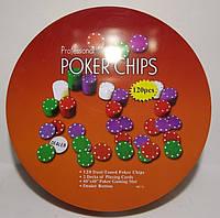 Набор для игры в покер в метал. упаковке (120 фишек+2 колоды карт+полотно) i3-94