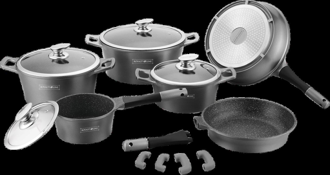 Набор кухонной посуды Royalty Line RL-ES2014M Black 14pcs мраморное покрытие