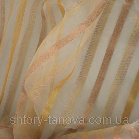 Органза полоса ирис. золото-бежевый