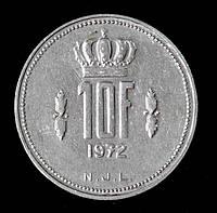 Монета Люксембурга 10 франков 1972 г.