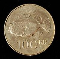 Монета Исландии 100 крон 2011 г. Рыба Пинагора
