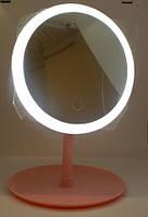 Зеркало с подсветкой на подставке для макияжа Cosmetic Mirror USB косметическое круглое настольное 06-03