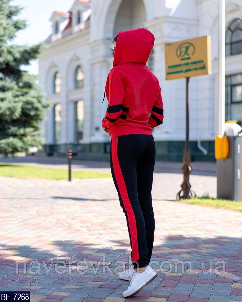 Женский летний спортивный костюм черно-красный 42-44 44-46