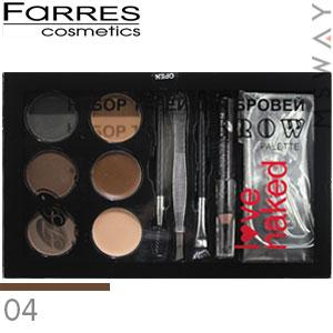 Farres - Набор теней для бровей 6-цв. Brow Palette Love Naked Тон 04
