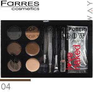 Farres - Набор теней для бровей 6-цв. Brow Palette Love Naked Тон 04, фото 2