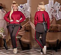 Женский летний спортивный костюм серый бордовый пудра 48 50 52 54, фото 1