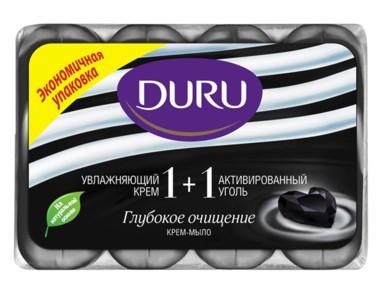 Мыло Duru 1+1 екопак Активированный уголь и Крем 4х90гр