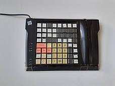 Клавиатура кассира 63 клавиши. POS-клавиатура 255х195мм. Б/У, с кардридером, фото 2
