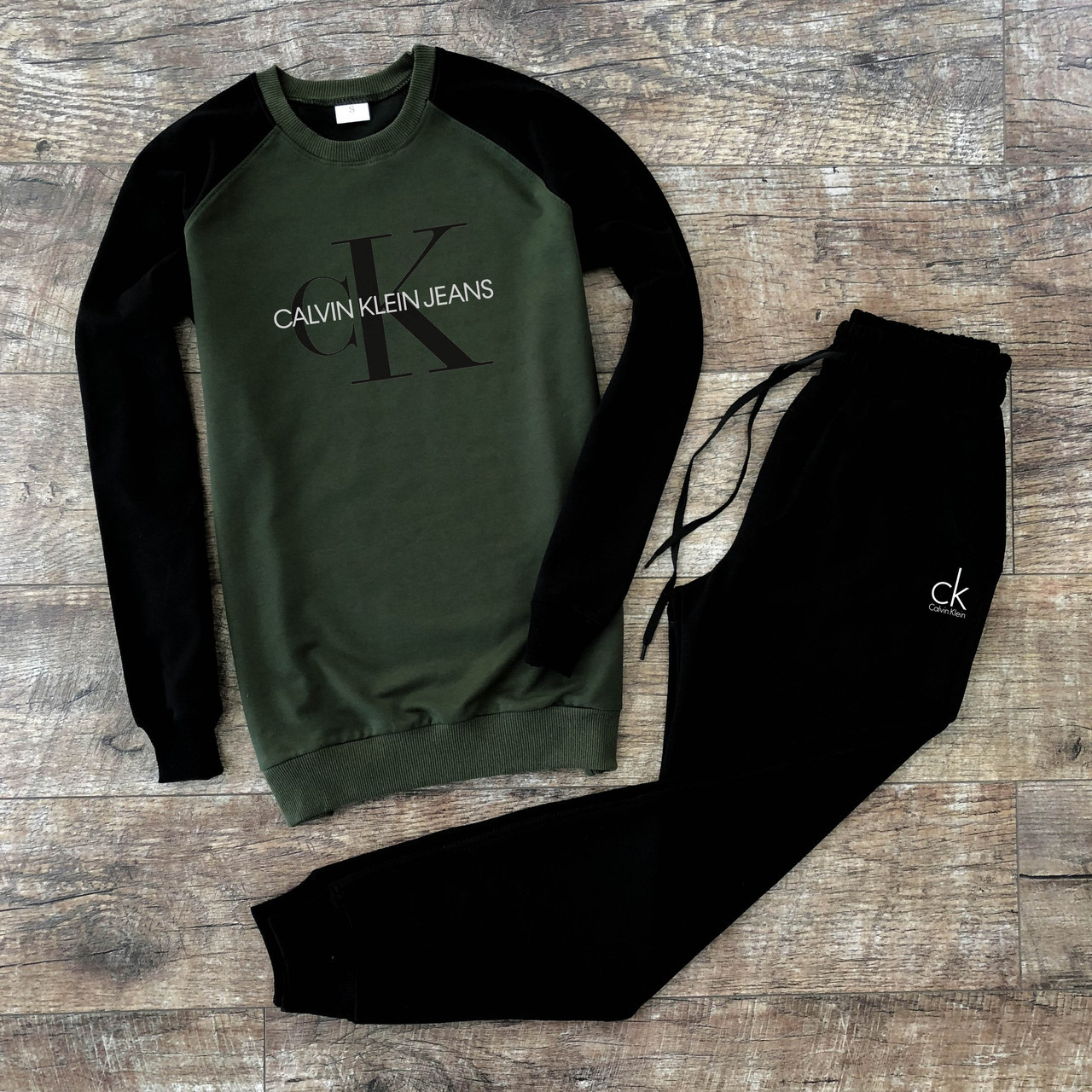 Мужской спортивный костюм черно-зеленый S M L XL