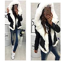 Женская короткая зимняя куртка с мехом черная синяя S M L