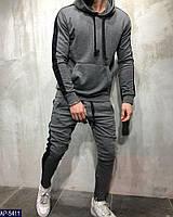 Мужской спортивный костюм графитовый черно-белый черно-красный хаки 44-46 48-50 52-54