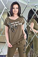 Женский спортивный костюм хаки черный бордо S M L, фото 1