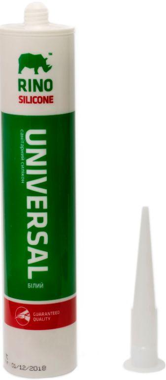 Санитарный силиконовый герметик Rino (Белый RS-301), 300 мл