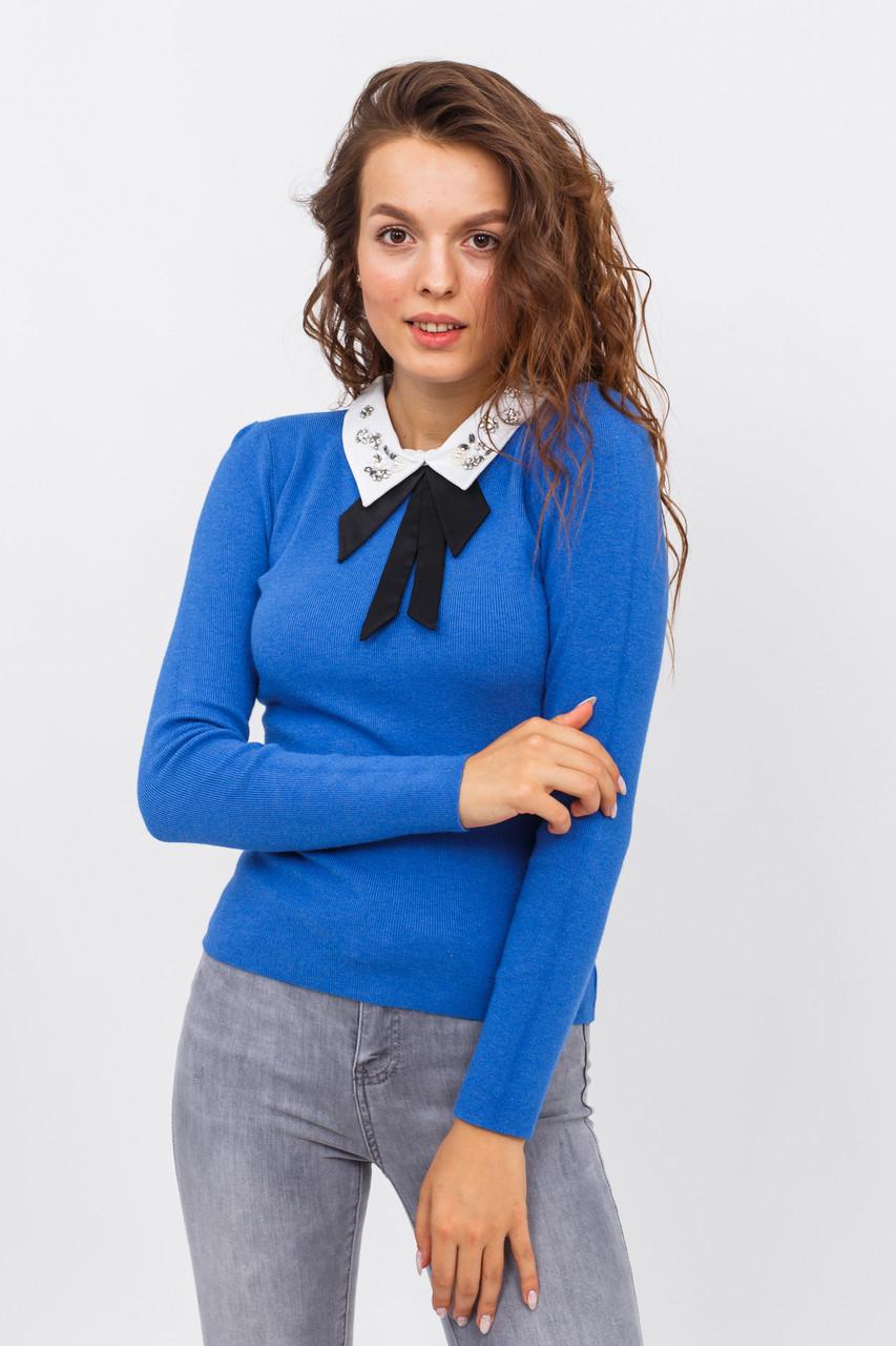 Женская кофта-блузка с воротником LUREX - синий цвет, L/XL (есть размеры)