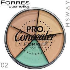 Farres - Консилер палитра круглая 5-цв. Pro Concealer Тон 02