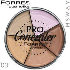 Farres - Консилер палитра круглая 5-цв. Pro Concealer Тон 03