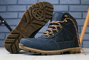 Мужские зимние ботинки синие, кожа crazy