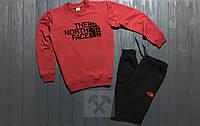Мужской зимний спортивный костюм , костюм на флисе The North Face красный с черным ,реплика