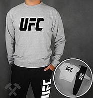 Зимний спортивный костюм , костюм на флисе UFC черный серая толстовка ,реплика