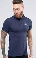 Мужская футболка поло Адидас синяя, футболка поло Adidas синяя, Турецкое качество; ФП-10026