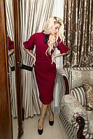 Платье бордо с воротничком ниже колена, фото 1