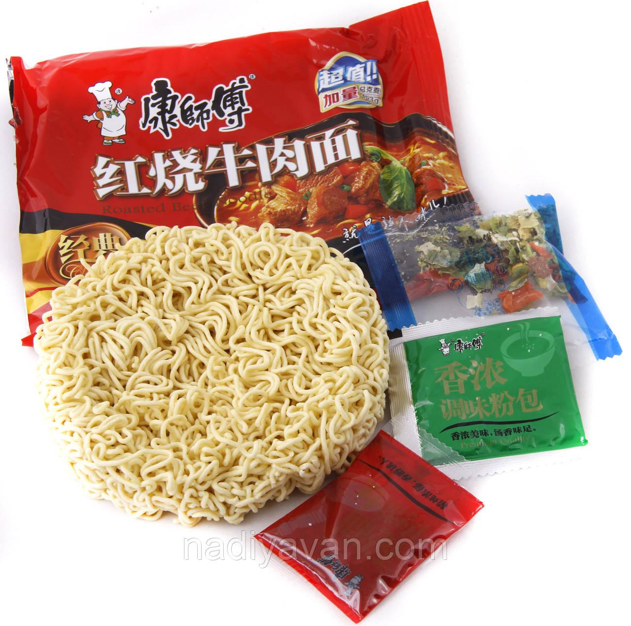 Вермишель быстрого приготовления с тушенной говядиной, овощами 82,5г  Kang Shifu (康師傅)
