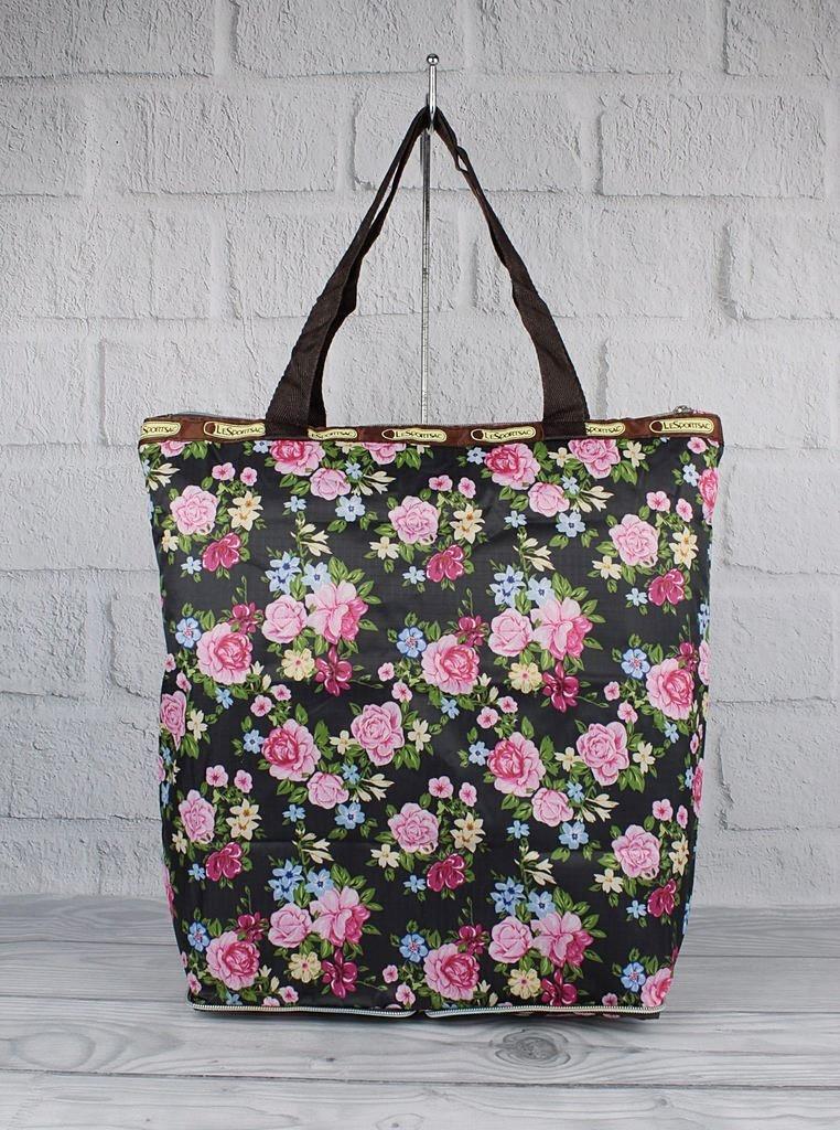 Сумка хозяйственная трансформер текстильная черная цветы LeSportsac 9801-21
