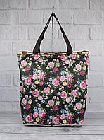 Сумка хозяйственная трансформер текстильная черная цветы LeSportsac 9801-21, фото 1