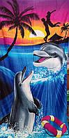 Пляжное полотенце Дельфины на закате