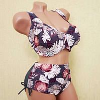 Стильный купальник для женщин с большой грудью, чашечка на косточке, высокие плавки, 6XL(58)