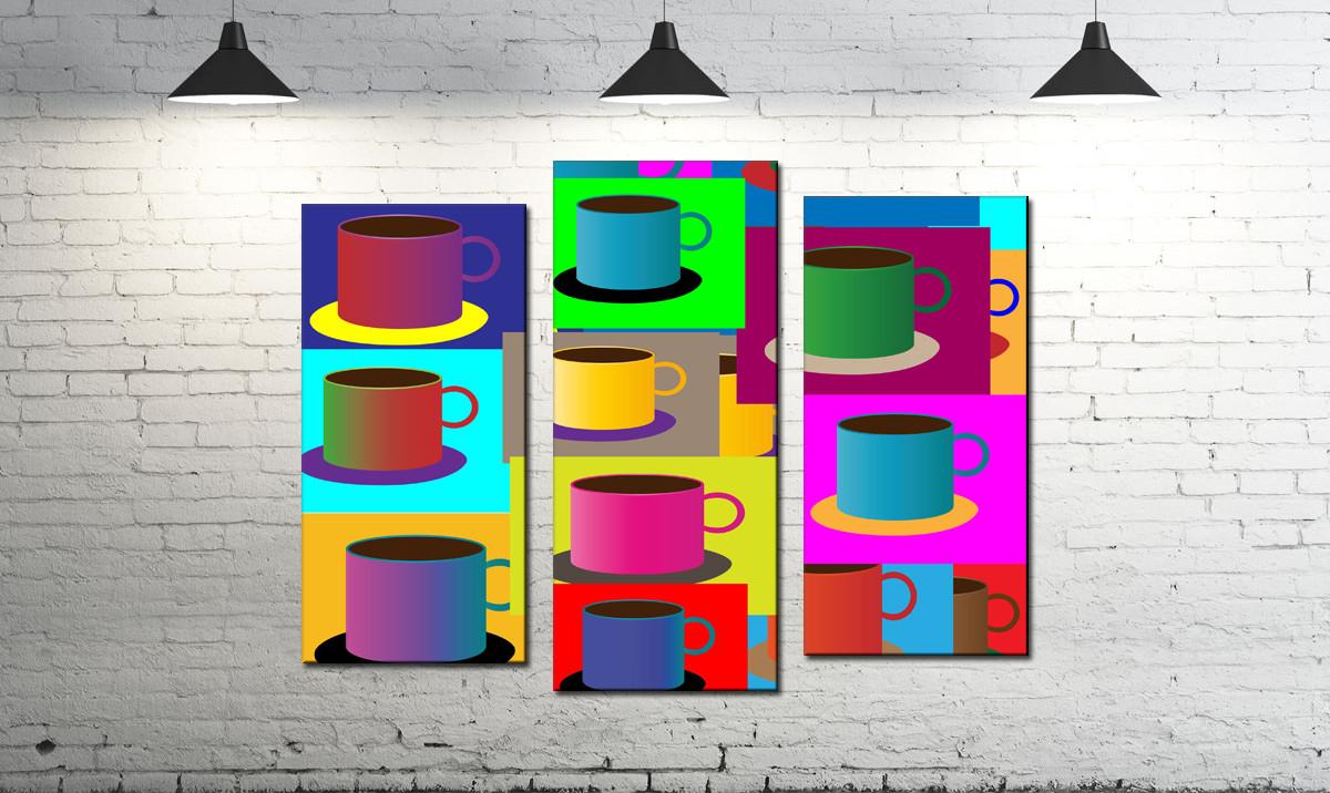 Модульна картина абстракція різнокольорові чашки