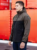 Куртка с капюшоном мужская осенняя BEZET softshell Alfa black/khaki' 19