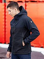 Куртка с капюшоном мужская осенняя BEZET softshell Alfa black/dark blue' 19
