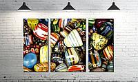 Модульная картина абстракция разноцветные камушки