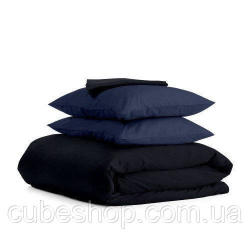 Комплект полуторного постельного белья BLACK BLUE-P (хлопок, сатин)