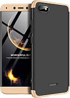 Чехол-накладка GKK 3 in 1 Hard PC Case Xiaomi Redmi 6A Gold/Black #I/S
