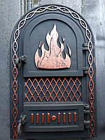 Дверца для печи и барбекю 545*325 мм, дверца печная чугунная крашеная