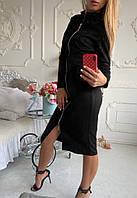 Платье замшевое женское чёрное, бордо, хаки