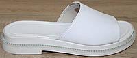 Шлепанцы белые женские кожаные от производителя модель Х013Р