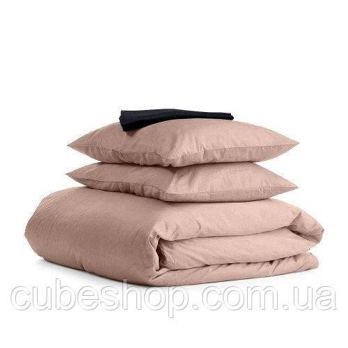 Комплект полуторного постельного белья BEIGE BLACK-S (хлопок, сатин)