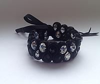 Вечерний браслет с черным агатом и чешским хрусталем