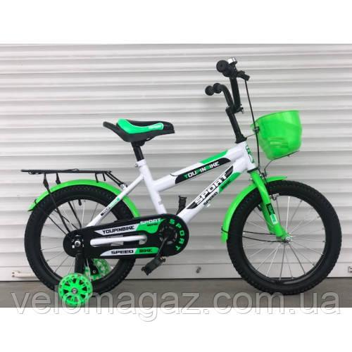 """Велосипед TopRider 804 16"""" салатовый детский двухколесный с багажником"""
