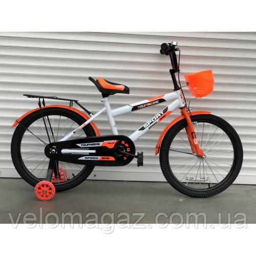 """Велосипед TopRider 804 20"""" оранжевый детский двухколесный с багажником"""