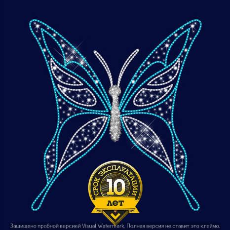 3D светодиодная конструкция Бабочка (синий,белый), фото 2