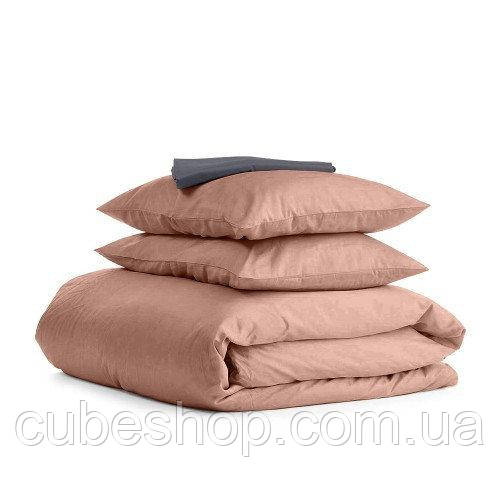 Комплект полуторного постельного белья BEIGE GREY-S (хлопок, сатин)