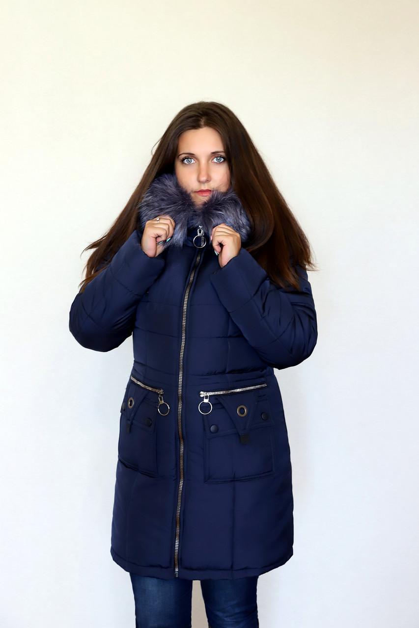 Женская зимняя куртка на меху от 44 до 48 размера  РАЗНЫЕ ЦВЕТА (код Диана)