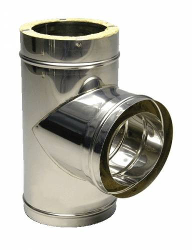 Трійник 87* термо ø 100/160 0.5 мм сталь нержавійка/оцинковка