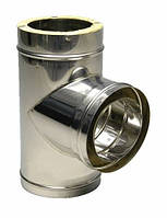 Тройник 87° Ф 100/160 н/оц с термоизоляцией из нержавеющей стали в оцинкованном кожухе , фото 1