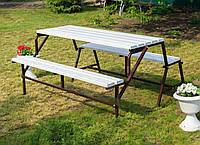 Садовая Скамейка-Лавочка Трансформер Гармония 3 в 1 Nk Plast Шоколад-Белый, фото 1